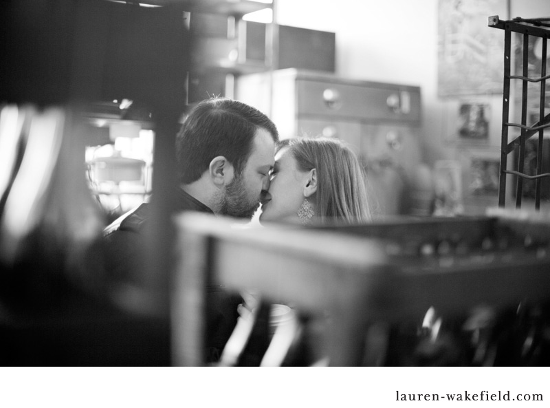 Andersonville engagement photos, chicago engagement photos, antique store, University of Chicago