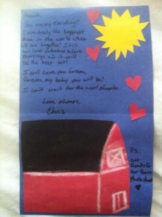 Handmade valentine, barn, barn card