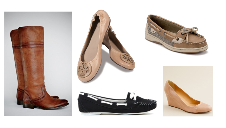 shoes, fall shoes, boots, frye, boat shoes, reva ballet flats, tory burch