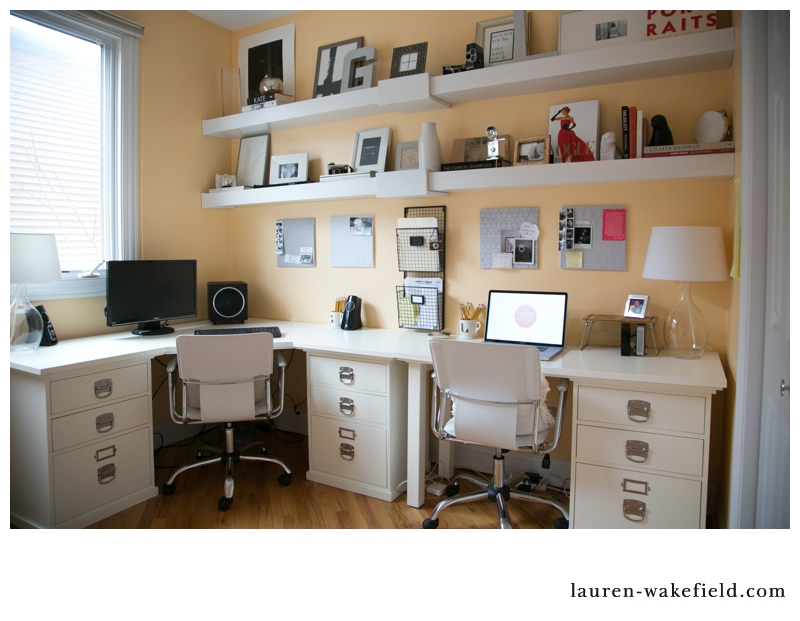 home office, home studio, hone photography office, home photography studio, floating shelves, picture ledge, work from home